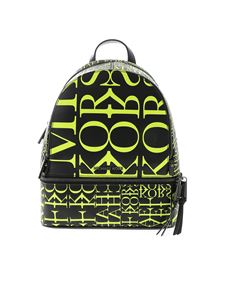 Michael Kors - Black backpack with yellow logo prints