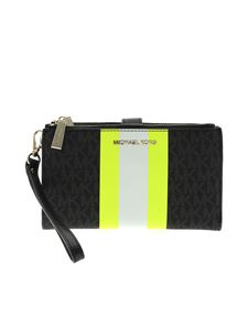 Michael Kors - Wristlets wallet in black with neon yellow detail