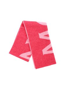 Moncler - Red scarf with pink logo intarsia