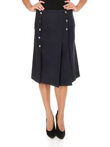 Chloé - Gonna stile kilt in crêpe blu