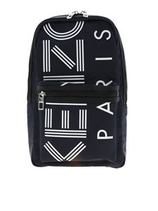 Kenzo - One shoulder logo print backpack in blue