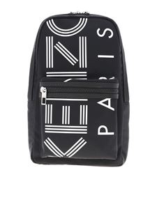 Kenzo - One shoulder logo print backpack in black