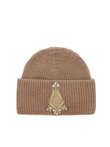 Dondup - Beige beanie with golden patch