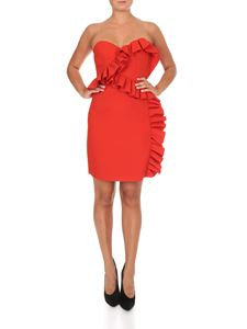 MSGM - Short dress in coral red with flounces