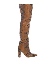 Paris Texas - Brown and black reptile print boots