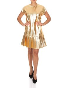 MSGM - Pleated shift dress in gold color