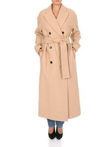 MSGM - Double-breasted long coat in camel beige