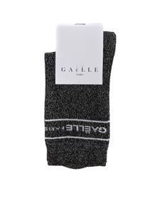 Gaelle Paris - Black lamé socks with logo