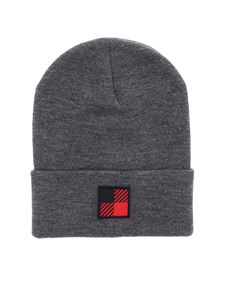 Woolrich - Dark grey melange beanie with logo patch