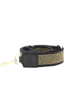 Gum Gianni Chiarini - Shoulder strap in black and golden lamé with logo