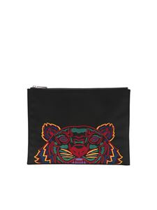 Kenzo - Black clutch bag with Tiger embroidery