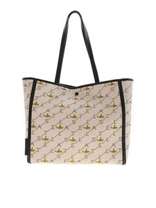Stella McCartney - Small Tote bag in beige with airplane pattern