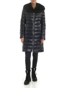 Herno - Iconico blue down jacket with fur