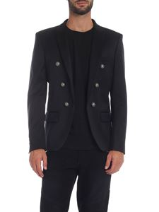 Balmain - Black diagonal fabric jacket