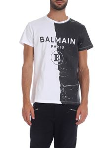 Balmain - White T-shirt with Balmain print