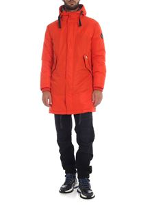 Paul Smith - Down jacket with knitted cuffs in orange