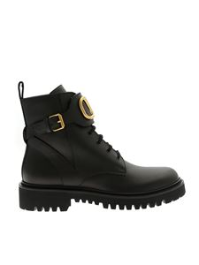 Valentino - Combact black ankle boots with Vlogo