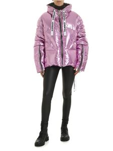 Khrisjoy - Laminated pink down jacket with branded ribbons