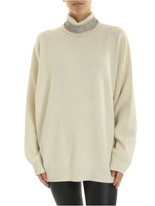 Alexander Wang - Ivory turtleneck pullover with rhinestones