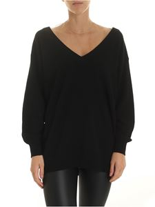 Alexander Wang - Black pullover with tulle detail in nude color
