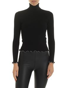 Alexander Wang - Black ribbed turtleneck with silver beads