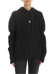 Marcelo Burlon - Sweatshirt in black with red lamé drawstring