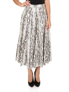 MSGM - Python-effect long skirt in shades of beige