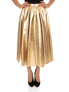 MSGM - Long pleated skirt in gold color