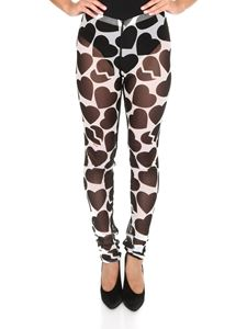 MSGM - Heart printed leggings in black and white