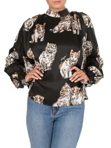 MSGM - Shirt in black with cat print