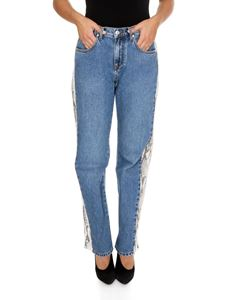 MSGM - Blue jeans with animal printed side bands