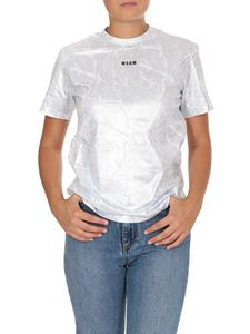 MSGM - Coated T-shirt with MSGM micro logo