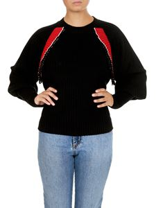 MSGM - Ribbed sweater in black with red flounces