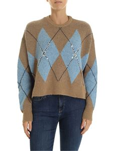 Pinko - Mesopotamia pullover in beige and light blue