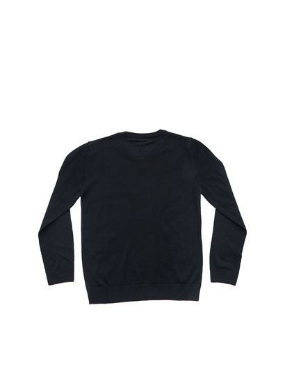 Emporio Armani - Blue pullover with burgundy edges