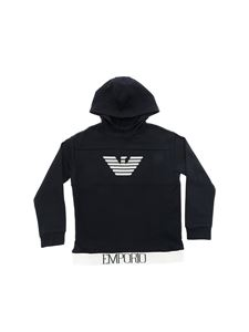 Emporio Armani - Blue hoodie with embroidered logo