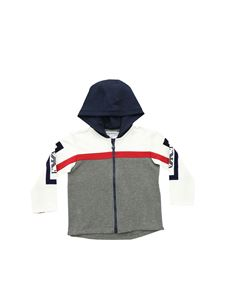 Emporio Armani - Grey white and blue hoodie with logo