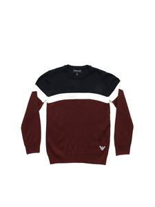 Emporio Armani - Burgundy blue and white crew-neck pullover