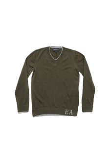 Emporio Armani - Army green pullover with grey edges