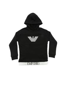 Emporio Armani - Black hoodie with embroidered logo