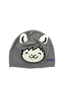 Emporio Armani - Grey beanie with face patch