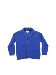 Emporio Armani - Electric blue cardigan with logo embroidery