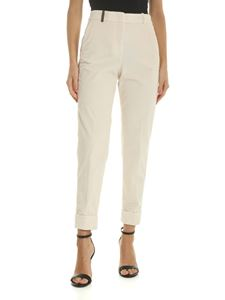 Peserico - Corduroy trousers in ivory color