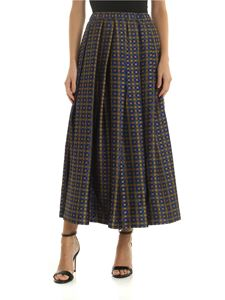 Aspesi - Mustard-colored skirt with checked pattern