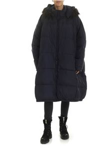 Rundholz Black Label - Blue down jacket with eco-fur insert