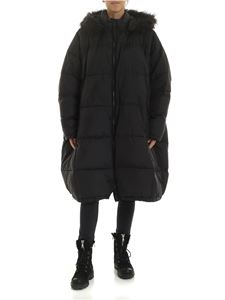 Rundholz Black Label - Black down jacket with eco-fur insert