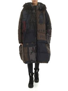 Rundholz Black Label - Multicolor down jacket with eco-fur insert