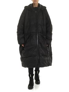 Rundholz Black Label - Black oversized down jacket with maxi-pockets