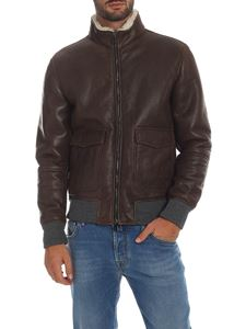 Volfagli - Vintage effect leather jacket in brown