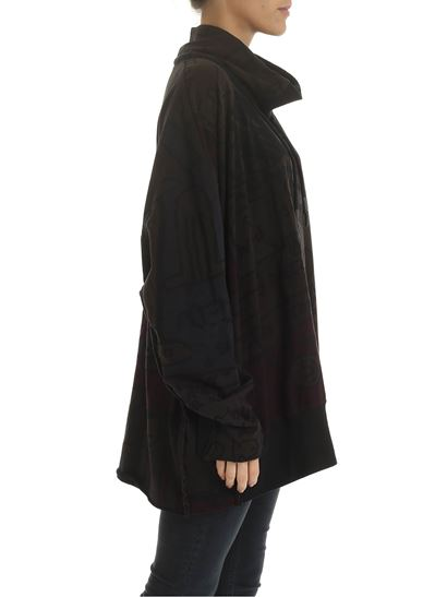 Rundholz Black Label - Asymmetric hoodie in multicolor with crater collar